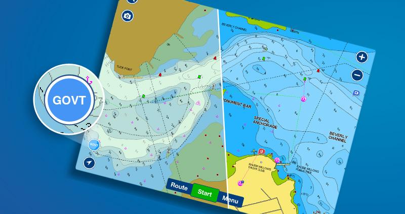 Les cartes du gouvernement américain sont offertes avec certains abonnements dans l'application Boating de Navionics