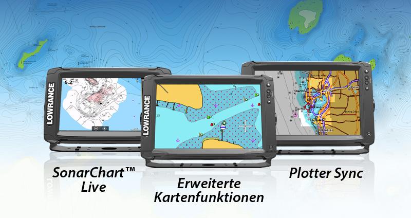 Alle Lowrance Elite Ti Modelle sind jetzt mit SonarChart™ Live, Erweiterten Kartenfunktionen und Plotter Sync kompatibel!