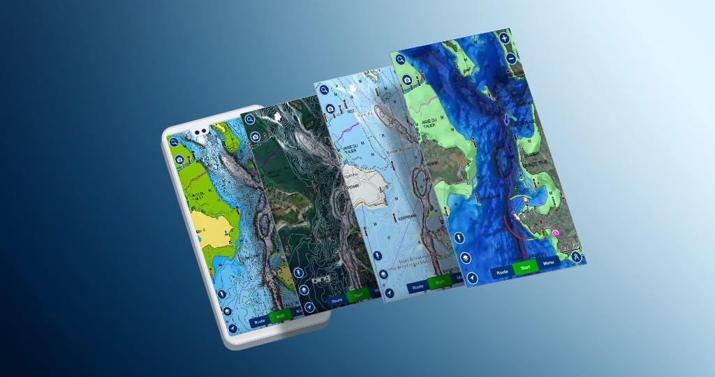 SonarChartShading et d'autres combinaisons carte + superposition dans l'appli Boating de Navionics